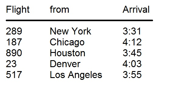 Flight schedule