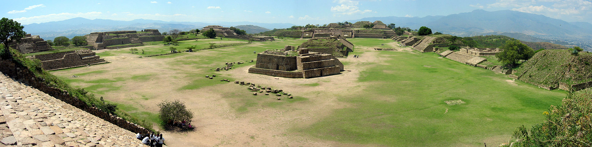 Panorama of monte alban from the south platform